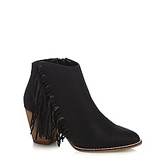 Nine by Savannah Miller - Black 'Sabrina' fringe detail ankle boots