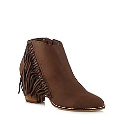 Nine by Savannah Miller - Brown fringe detail ankle boots