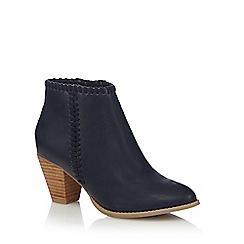 Nine by Savannah Miller - Navy stitched detail mid heel ankle boots