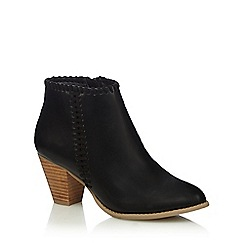 Nine by Savannah Miller - Black stitched detail mid heel ankle boots