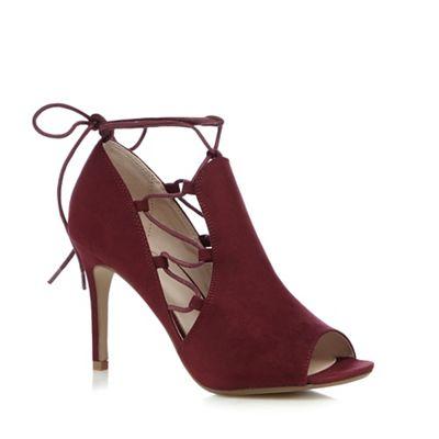 Nine by Savannah Miller Dark red lace up peep toe high