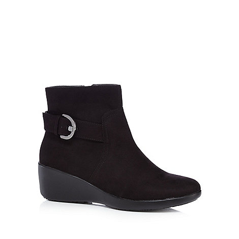 for the sole black high wedge wide fit ankle boots