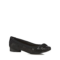 Good for the Sole - Black textured wide fit flat pump