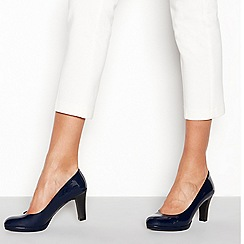Good for the Sole - Navy patent high heel wide fit court shoes