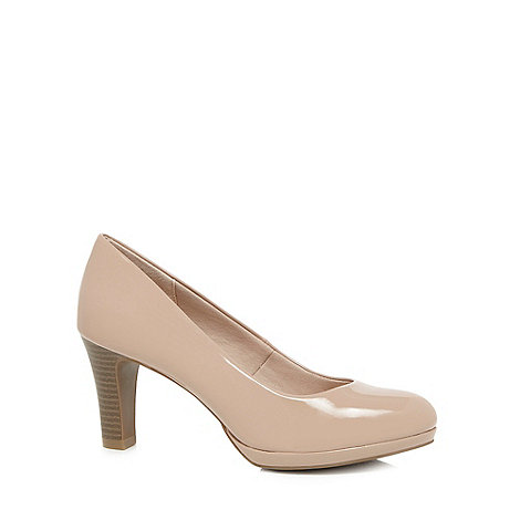 Good for the Sole - Natural patent high heel wide fit court shoes