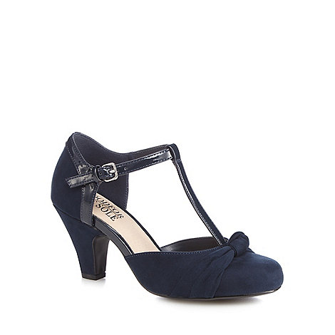 Good for the Sole - Navy knot detail wide fit high T-bar court shoes