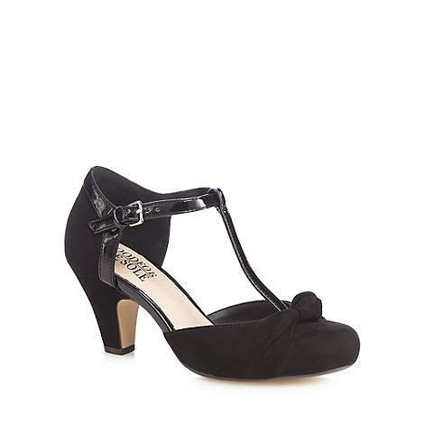 Good for the Sole - Black suedette high heel wide fit T-bar shoes