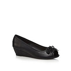 Good for the Sole - Black embellished wide fit peep toe wedge shoes