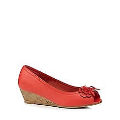 Good for the Sole - Coral embellished wide fit peep toe wedge shoes