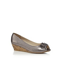 Good for the Sole - Silver metallic embellished wide fit peep toe wedge shoes