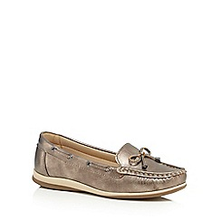 Good for the Sole - Dark gold metallic wide fit boat shoes