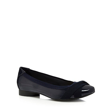 Good for the Sole - Navy wide fit flat pump