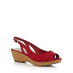 Good for the Sole - Red 'Galaxy' mid heel wide fit slingback sandals