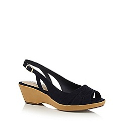Good for the Sole - Navy 'Galaxy' mid wedge heel wide fit slingback sandals