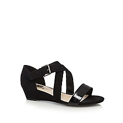 Good for the Sole - Black 'Gloria' mid heel wide fit sandals