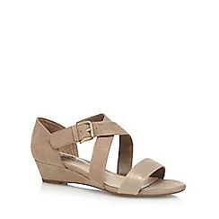 Good for the Sole - Taupe 'Gloria' mid heel wide fit sandals