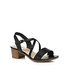 Good for the Sole - Black mid heel wide fit sandals