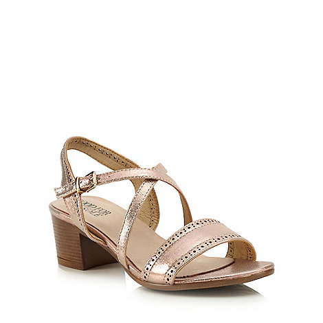 Good for the Sole - Natural mid heel wide fit ankle strap sandals