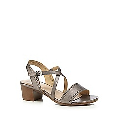 Good for the Sole - Silver mid heel wide fit sandals