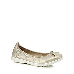 Good for the Sole - Gold 'Georgina' flat wide fit pumps