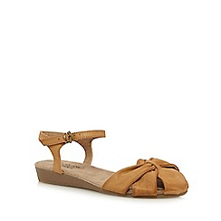 Good for the Sole - Tan 'Gilda' wide fit ankle strap sandals