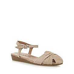 Good for the Sole - Beige 'Gilda' wide fit ankle strap sandals
