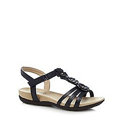 Good for the Sole - Navy 'Gemima' mid heel wide fit T-bar sandals