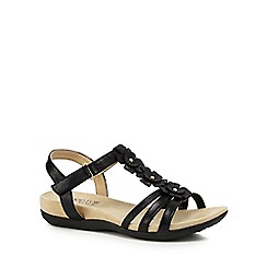 Good for the Sole - Black 'Gemima' mid heel wide fit T-bar sandals
