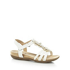 Good for the Sole - White 'Gemima' mid heel wide fit T-bar sandals