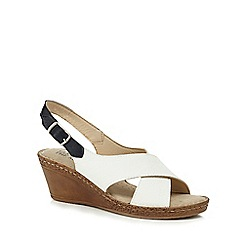 Good for the Sole - White 'Gino' mid heel wide fit slingback sandals
