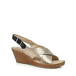 Good for the Sole - Gold 'Gino' mid heel wide fit slingback sandals