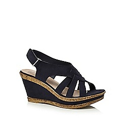 Good for the Sole - Navy 'Gillian' high heel wide fit ankle strap sandals