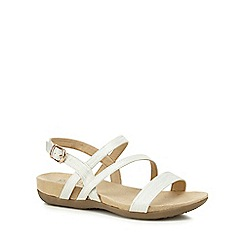 Good for the Sole - White 'Giorgio' mid heel wide fit sandals