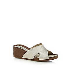 Good for the Sole - Silver 'Glows' mid heel wide fit mules