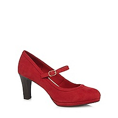 Good for the Sole - Red suedette 'gemma' high heel wide fit mary janes