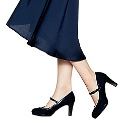Good for the Sole - Navy suedette 'gemma' high heel wide fit mary janes