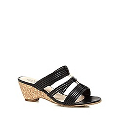 Good for the Sole - Black 'Gifts' mid heel wide fit mules