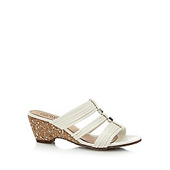 Good for the Sole - White 'Gifts' mid heel wide fit mules