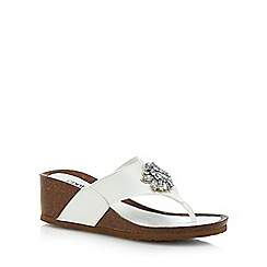 Good for the Sole - White 'Gals' mid heel wide fit T-bar sandals