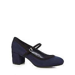 The Collection - Navy textured Mary Jane mid heel court shoes