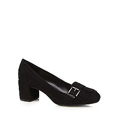 The Collection - Black mid block heel court shoes