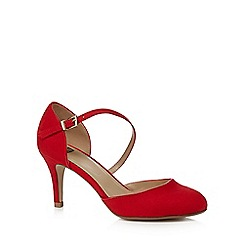 The Collection - Red suedette high heel court shoes