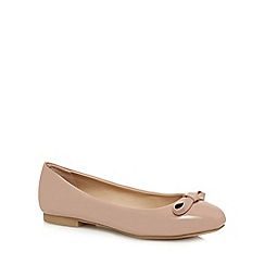 The Collection - Taupe patent 'Charlie' ballet pumps