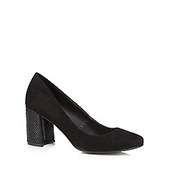 The Collection - Black textured block heel high courts