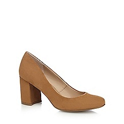 The Collection - Tan suedette mid block heel court shoes