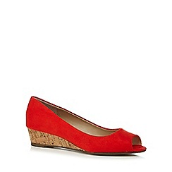 The Collection - Orange 'Catherine' mid wedge heel peep toe court shoes