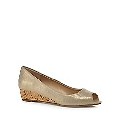 The Collection - Gold 'Catherine' mid wedge heel peep toe shoes