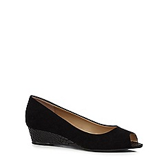 The Collection - Black 'Catherine' mid wedge heel peep toe court shoes