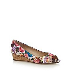 The Collection - Multi-coloured 'Catherine' low wedge heel peep toe shoes