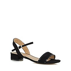 The Collection - Black 'Caiden' mid block heel ankle strap sandals